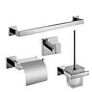 billige Badeværelsesprodukter-Tilbehørssæt til badeværelset Moderne Rustfrit Stål 4stk - Hotel bad Toilet Børste Holder tårn bar Robe Hook Toiletpapirholdere