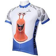 ILPALADINO Herre Kortærmet Cykeltrøje - Blå / Hvid Tegneserie / Dyr Cykel Trøje, Hurtigtørrende, Ultraviolet Resistent, Åndbart Polyester