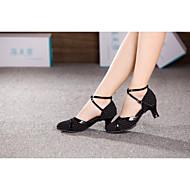 billige Moderne sko-Dame Moderne sko Syntetisk / Tekstil Høye hæler Spenne / Pels Kubansk hæl Kan ikke spesialtilpasses Dansesko / Innendørs / Trening