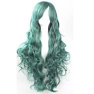 Sentetik Saç peruk Bukle Bonesiz Cosplay Peruk Yeşil