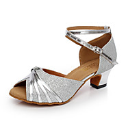 billige Salsasko-Dansesko(Sort Sølv) -Kan ikke tilpasses-Cubanske hæle-Damer-Latin Salsa