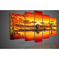 Hånd-malede Abstrakt Fem Paneler Kanvas Hang-Painted Oliemaleri For Hjem Dekoration