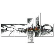 Χαμηλού Κόστους Πάνω Καλλιτέχνης-ζωγραφισμένα στο χέρι τέχνη τοίχο διακόσμηση μαύρο άσπρο ελαιογραφία τοπίο σε καμβά 5pcs / set (χωρίς πλαίσιο)