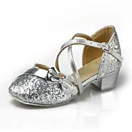 billige Moderne sko-Dame Barn Moderne Ballett Paljett Kunstlær Høye hæler Trening Nybegynner Innendørs Spenne Lav hæl Sølv Blå Gull Fuksia Kongeblå 3 cm Kan