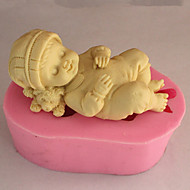 Molde Bebê de sono Para Bolo Para Biscoito Para Torta Silicone Ecológico Alta qualidade 3D