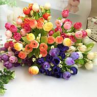 billige Kunstige blomster-1 Gren Polyester Plastikk Roser Bordblomst Kunstige blomster