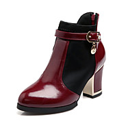 "cheap Women's Boots-Women's Shoes Patent Leather Winter Fall Chunky Heel 2""-4""(Approx.5.08cm-10.16cm) 6""-8""(Approx.15.24cm-20.32cm) Booties/Ankle Boots Zipper"