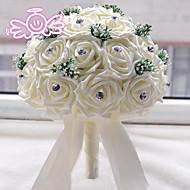 """Esküvői virágok Kör Rózsák Csokrok Esküvő Poliészter Szatén Gyöngy Hab 9,84"""" (Kb. 25 cm)"""