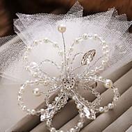 billiga Brudhuvudbonader-Oäkta pärla Blommor Birdcage slöjor 1 Bröllop Speciellt Tillfälle Hårbonad