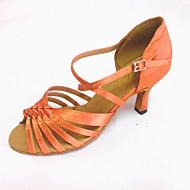 baratos Sapatilhas de Dança-Mulheres Sapatos de Dança Latina Cetim Sandália Salto Personalizado Personalizável Sapatos de Dança Bronzeado / Branco / Interior