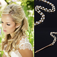 cheap Wedding Headpieces-Gold Chain Layered Tassel  with Pearl Beads Strand Hair Head Chain Clip for Lady Casul Hair Jewelry