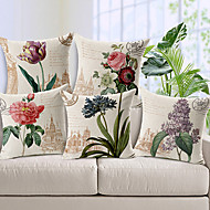 5 Pcs Cotton/Linen Pillow Cover, Floral Country