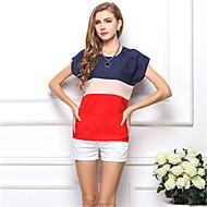 Kadın's Bluz Kırk Yama, Zıt Renkli Büyük Bedenler Kırmzı XL / Yaz