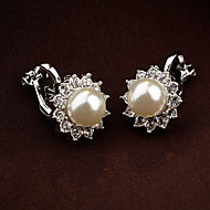Women S Clip Earrings Pearl Rhinestone Flower Las Vintage Party Cute White Black For Daily