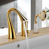 アンティーク調 バスタブとシャワー 滝状吐水タイプ / ハンドシャワーは含まれている with  セラミックバルブ シングルハンドル三穴 for  Ti-PVD , 浴槽用水栓