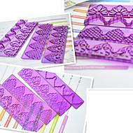 billige -4-piece fondant kake frill mold plast grensen kake dekorasjon mold