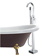 cheap Bathtub Faucets-Contemporary Tub And Shower Handshower Included Floor Standing Ceramic Valve One Hole Single Handle One Hole Chrome, Bathtub Faucet