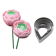 billige Bakeredskap-Four-C rustfritt stål rose slipp blomst cutter fondant sukker håndverket cupcake mold bakeformene cookie dekorere verktøy