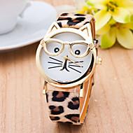 สำหรับผู้หญิง สุภาพสตรี นาฬิกาข้อมือ นาฬิกาอิเล็กทรอนิกส์ (Quartz) แมว PU Leather ดำ / สีขาว / น้ำตาล นาฬิกาใส่ลำลอง ระบบอนาล็อก ไม่เป็นทางการ แฟชั่น - สีดำ กาแฟ เสือดาว หนึ่งปี อายุการใช้งานแบตเตอรี่