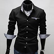 남성용 솔리드 슬림 플러스 사이즈 셔츠, 사업 작동 면 화이트 XL / 긴 소매 / 봄 / 가을