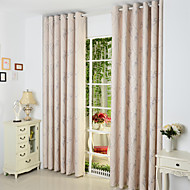 Rod Pocket Grommet Top Tab Top Double Pleat Two Panels Curtain Country , Jacquard Living Room Poly / Cotton Blend Material Curtains Drapes