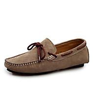 Férfi Vitorlás cipők Kényelmes Újdonság Fordított bőr Tavasz Nyár Ősz Tél Hétköznapi Party és Estélyi Lapos Szürke Kék Burgundi vörös