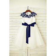 a-line genunchi lungime floare fata rochie - dantelă tul mâneci scurte gât scoop cu panglica de thstylee