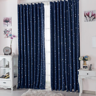 Rod Pocket Grommet Top Tab Top Double Pleat Two Panels Curtain Modern , Print Polka Dots Living Room Polyester Material Blackout Curtains