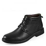 Men's Shoes Leather Spring Summer Fall Winter Comfort Boots Mid-Calf Boots Lace-up For Casual Black Brown