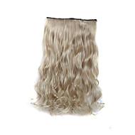 お買い得  人工毛ヘアエクステンション-毛延長24インチ120グラム長い巻き毛の金髪の5クリップが性合成繊維を加熱