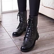 Sko - Kunstlær - Lav hæl - Combatstøvler / Rund tå - Støvler - Fritid - Svart
