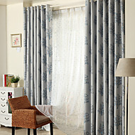 cheap Blackout Curtains-Rod Pocket Grommet Top Double Pleat Two Panels Curtain Country Modern Neoclassical Mediterranean , Jacquard Bedroom Polyester Material