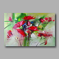 Ready to Hand Stretched Hand-Painted Abstract Modern Oil Painting Canvas  Red Roses Home Deco one Panel