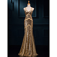 cheap -Mermaid / Trumpet V Neck Floor Length Sequined Sparkle & Shine Formal Evening Dress with Sequin by LAN TING Express