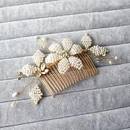 billiga Brudhuvudbonader-Oäkta pärla Bergkristall Hair Combs 1 Bröllop Speciellt Tillfälle Utomhus Hårbonad