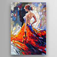 Oil Painting a Woman with a  Guitar in her hand Hand Painted Canvas with Stretched Framed