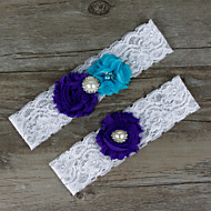 Chiffon Lace Satin Wedding Garter with Lace Flower