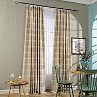 2 paneeli Maalaistyyliset Raita Sininen / Maanläheinen Makuuhuone Polyester/puuvillaseos Paneeli Verhot Drapes