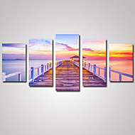 5 Panels Sunset Wooden Bridge  Picture Print on Canvas Unframed