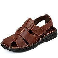 Men's Sandals Spring Summer Fall Comfort Cowhide Outdoor Dress Casual Light Brown Black Water Shoes
