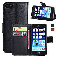 Etui Til Apple iPhone 7 / iPhone 7 Plus / iPhone 6 Plus Pung / Kortholder / Med stativ Fuldt etui Ensfarvet Hårdt PU Læder for iPhone 7 Plus / iPhone 7 / iPhone 6s Plus