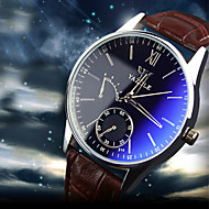Luxury Brand Fashion Faux Leather Blue Ray Glass Men Watch 2015 Quartz Analog Business Wrist Watches Men montre homme Cool Watch Unique Watch