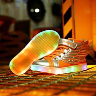 tanie Obuwie chłopięce-Dla chłopców Buty Skóra Wiosna Jesień Świecące buty Zabawne Tenisówki Haczyk i pętelka na Casual White Orange Czarny/Czerwony Golden