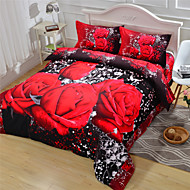 3D Duvet Cover Red Rose Queen Size Beds 100% Cotton
