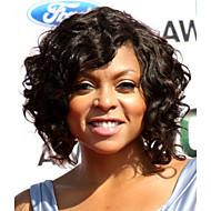 Echt haar Kanten Voorkant Pruik Golvend Pruik 130% Natuurlijke haarlijn / Afro-Amerikaanse pruik / 100% handgebonden Dames Kort / Medium Kanten pruiken van echt mensenhaar