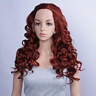 Fashion Synthetic Wigs Lace Front Wig 24inch Curly Burgundy Heat Resistant Hair Wig Women