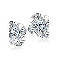 Homens Mulheres Brincos Curtos Imitação de Diamante Moda Casamento Elegant Estilo simples bijuterias Prata de Lei Cristal Strass Formato