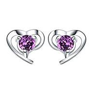 Feminino Brincos Curtos Cristal Amor Coração bijuterias Prata de Lei Cristal Formato de Coração Jóias Para Casamento Festa Diário