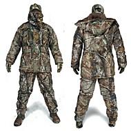 パンツ付きハンティングジャケット 男性用 防水 / 保温 / 耐衝撃性の クラシック / ファッション / カモフラージュ フリース 冬物ジャケット / トップス / 洋服セット 長袖 のために 狩猟 / 釣り
