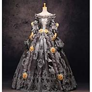 Rococo Victorian เครื่องแต่งกาย สำหรับผู้หญิง หนึ่งชิ้น ชุดเดรส Party Costume Masquerade สีเทา Vintage คอสเพลย์ ลูกไม้ ผ้าลินิน ซาติน Prom แขนยาว ความยาว